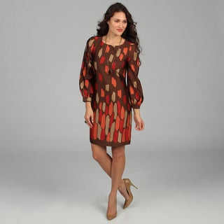 CeCe's New York Women's Brown Abstract Printed Long Sleeve Dress