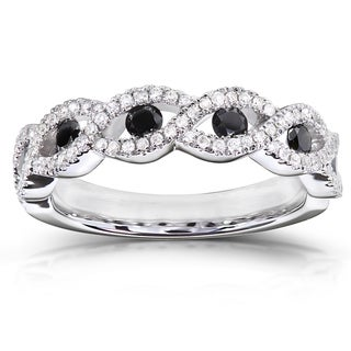 Annello 10k Gold 1/2 ct TDW Black and White Round Diamond Ring (H-I, I1-I2)