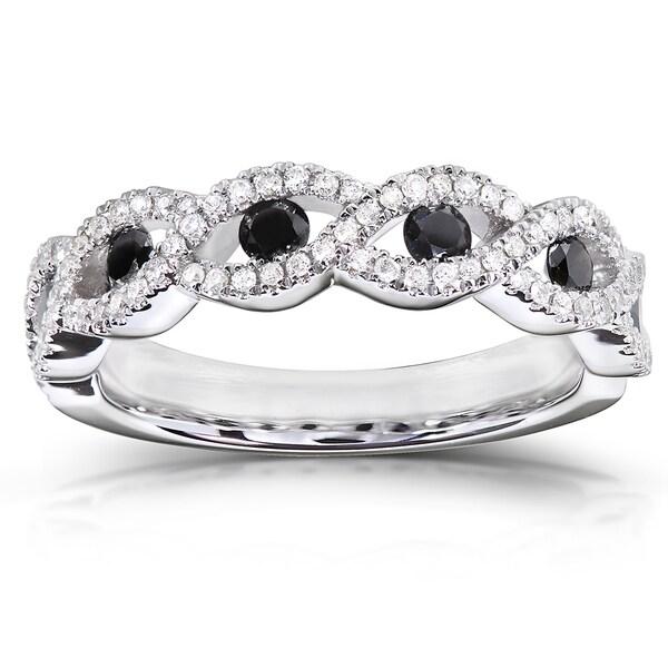 Annello 10k Gold 1/2 ct TDW Black and White Round Diamond Ring (H-I, I1-I2)