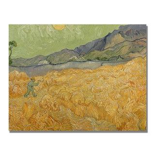 Vincent Van Gogh 'Wheatfields with Reaper' Canvas Art