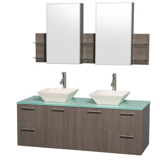 Wyndham Collection 'Amare' 60-inch Grey Oak/ Green Top/ Bone Sink Vanity Set