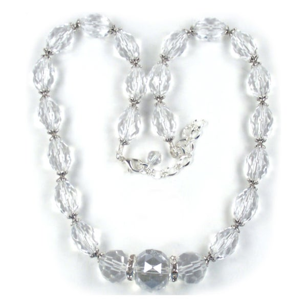 Silverplated Clear Crystal Lucite Wedding Jewelry Set