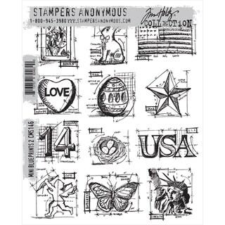 Tim Holtz Cling Rubber Stamp Set Mini Blueprints