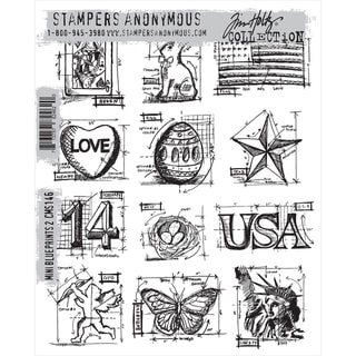 Tim Holtz Cling Rubber Stamp Set Mini Blueprints