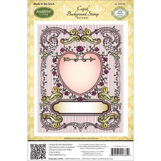 """JustRite Stampers Cling Background Stamp 4-1/2""""X5-3/4""""-Cupid"""