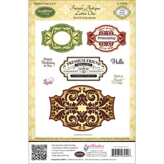 JustRite Stampers Cling Stamp Set-Friends Antique Labels One 8pc