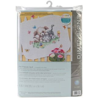 Pet Friends 43x34 Baby Quilt Stamped Cross Stitch Kit