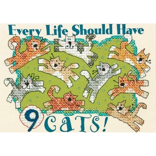 Nine Cats Mini Stamped Cross Stitch Kit-7