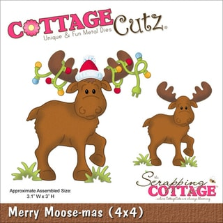 "CottageCutz Die 4""X4""-Merry Moose-Mas"
