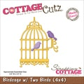 "CottageCutz Die 4""X4""-Birdcage With 2 Birds"