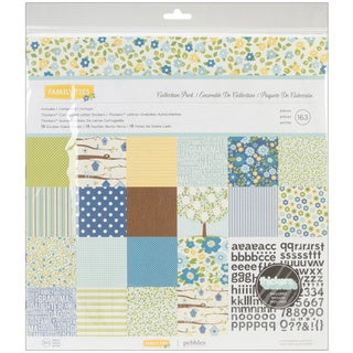 Family Ties Collection 12x12 Double-sided Papers and Alpha Thickers Pack