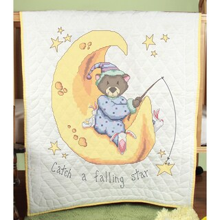 Stamped Baby Quilt Top 36X50in-Catch A Falling Star