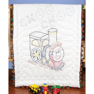 """Stamped Baby Quilt Top 36""""X50""""-Train"""