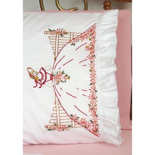 """Stamped Lace Edge Pillowcase 30""""X20"""" 2/Pkg-Fence Lady"""
