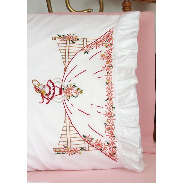 "Stamped Lace Edge Pillowcase 30""X20"" 2/Pkg-Fence Lady"