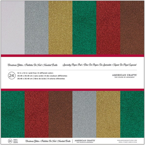 "American Crafts Cardstock Pack 12""X12"" 24/Pkg-Christmas Glitter"