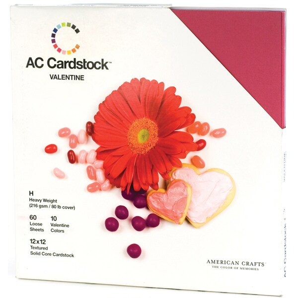"American Crafts Seasonal Cardstock Pack 12""X12"" 60/Pkg-Valentine"