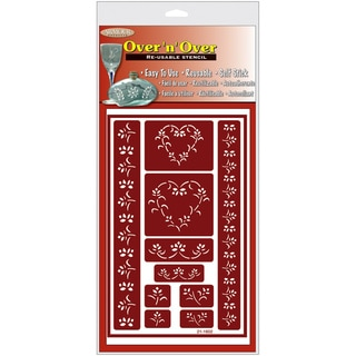 "Over 'n' Over Reusable Glass Etch Stencils 5""X8"" 1/Pkg-Hearts"