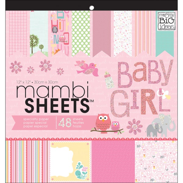 """MAMBI Sheets Specialty Cardstock 12""""X12"""" 48/Sheets-Baby Girl Animals"""