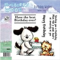 "Mullberry Wood Ezmount Cling Stamp Set 4-3/4""X4-3/4""-Birthday Wishes"