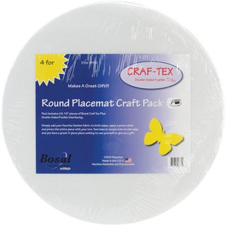 "Craf-Tex Round Placemat Craft Pack-16"" Round White 4/Pkg"