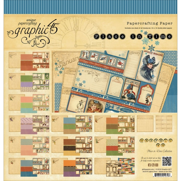 """Place In Time Double-Sided Paper Pad 12""""X12""""-26 Sheets - 26 Designs/1 Each"""