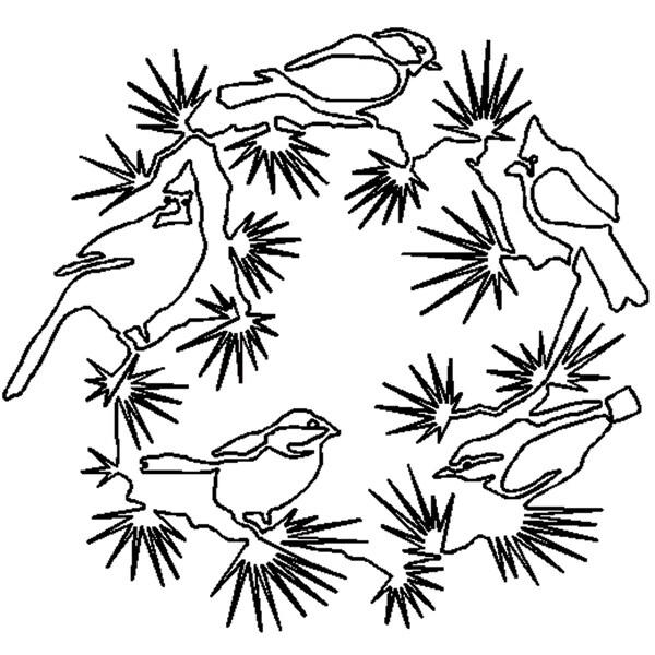 """Quilt Stencils By Julie Mullin-Bird Wreath 14""""X13"""""""