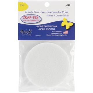 "Craf-Tex Round Coaster Craft Pack-4"" Round White 6/Pkg"