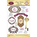 JustRite Stampers Clear Stamp Set-Antique Valentine's Day Tags One 19pc