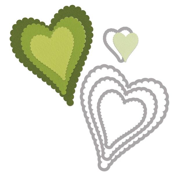 Sizzix Framelits Dies 4/Pkg-Scallop Hearts #2