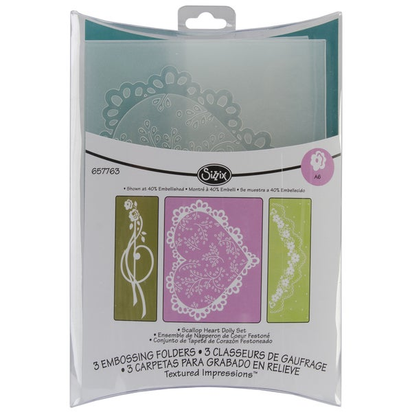 Sizzix Textured Impressions Embossing Folders 3/Pkg-Scallop Heart Doily