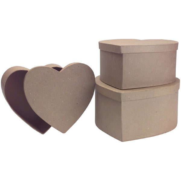 "Paper Mache Heart Box Set of 3-9-3/4"", 8-3/4"", 8"""