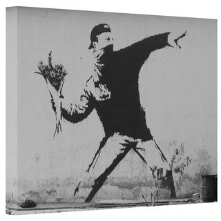 Banksy 'Flower Throwers' Gallery Wrapped Canvas