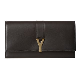 Yves Saint Laurent 'Y Line' Large Black Leather Flap Wallet
