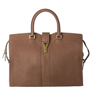 Yves Saint Laurent &#39;Cabas Y&#39; Large Taupe Leather Tote Bag