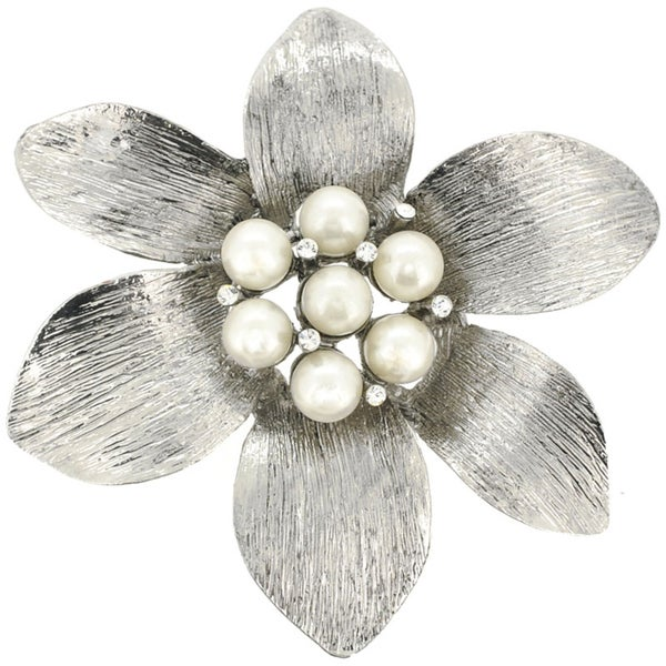 Silvertone Faux Pearl and Crystal Flower Brooch