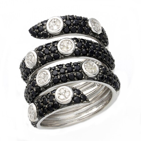 Beverly Hills Charm Silver Black Sapphire and 1/5ct TDW Diamond Spiral Ring