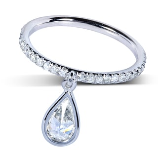 14k White Gold 4/5 ct TDW Diamond Dangle Ring (H-I, SI1-SI2)