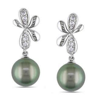 Miadora 14k White Gold Tahitian Pearl and 1/6ct TDW Diamond Earrings (G-H, I1-I2)