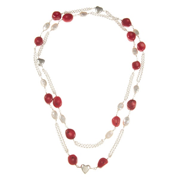 Sterling Silver FW Pearl and Red Coral Heart Station Necklace (7-8 mm)