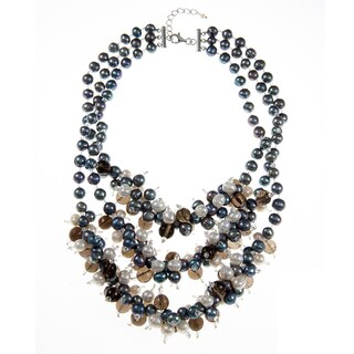 Multi-colored Freshwater Pearl, Smokey Quartz and Crystal Necklace (7-9 mm)