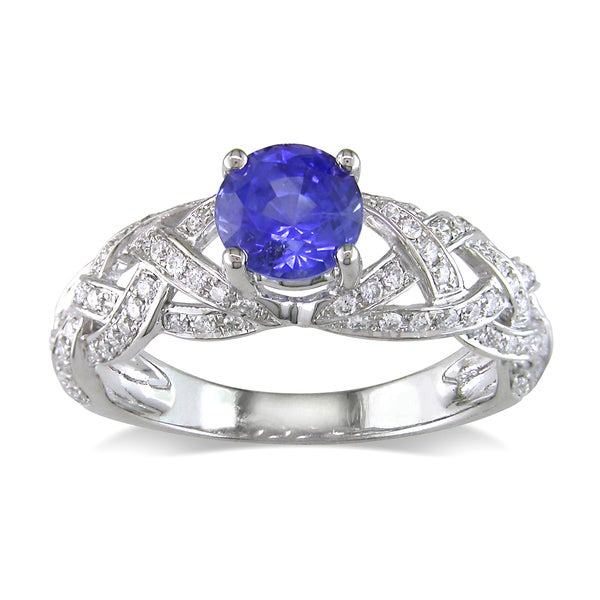 Miadora 14k White Gold Sapphire and 4/5ct TDW Diamond Ring (G-H, SI1-SI2)