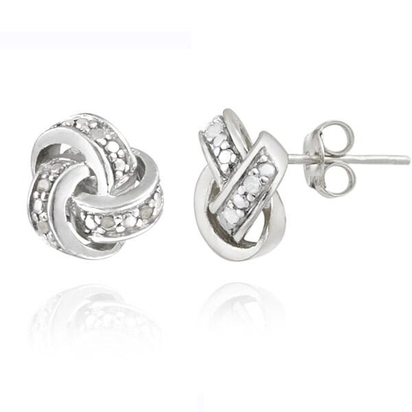 DB Design Sterling Silver 1/10ct TWD Diamond Love Knot Earrings