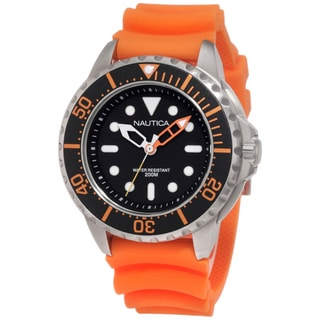 Nautica Men's Stainless Steel Orange Strap Black Dial Watch