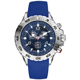 Nautica Men's Blue Dial Stainless Steel Chrono Watch