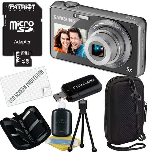 Samsung ST700 16.1MP Silver Digital Camera with 16GB Bundle