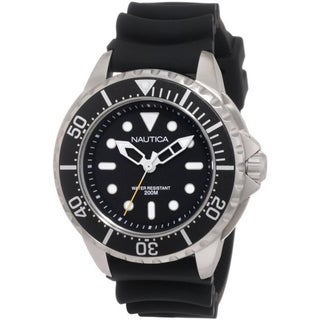 Nautica Men's Black Strap Stainless Steel Watch