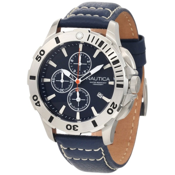 Nautica Men's Blue Leather Strap Stainless Steel Chrono Watch