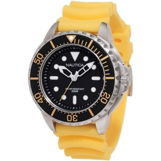 Nautica Men's Yellow Strap Black Dial Watch