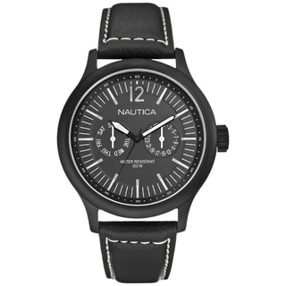 Nautica Men's Date N13603G Black Crocodile Leather Watch